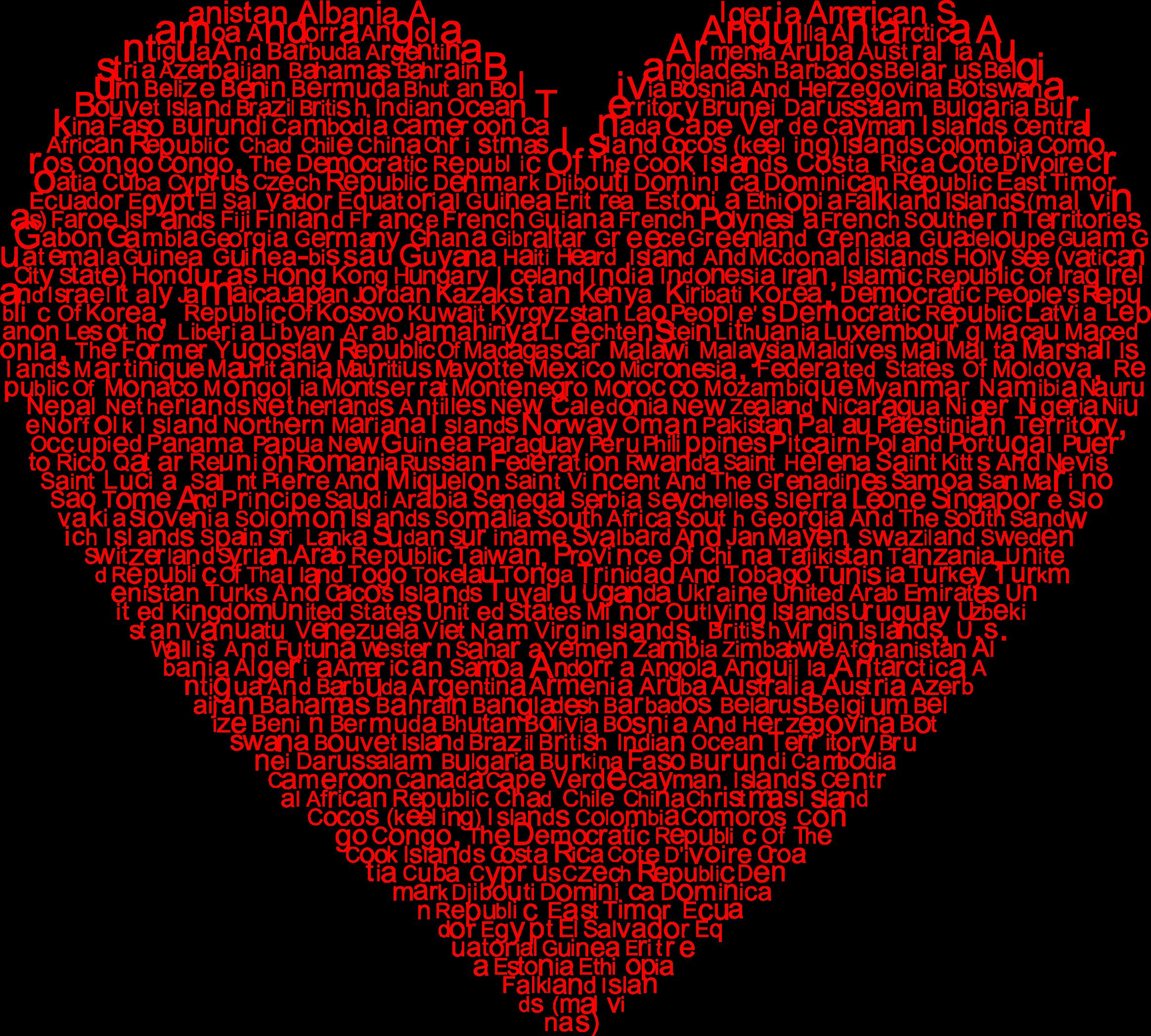 Heart world clipart vector royalty free download Clipart - World Countries Heart Typography vector royalty free download