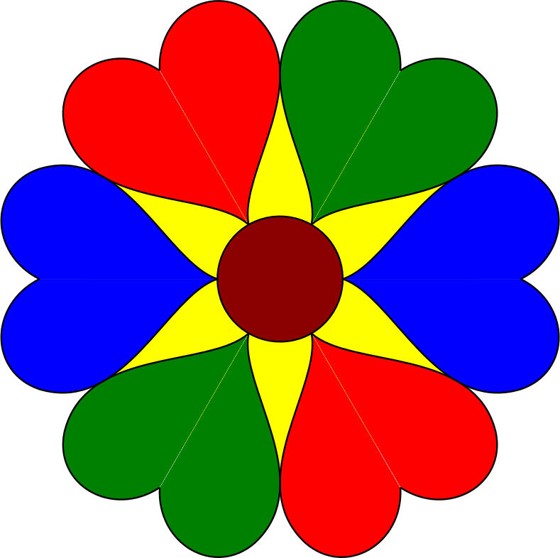 Hearts and flowers clip art jpg free Clipart - Six Heart Flower jpg free