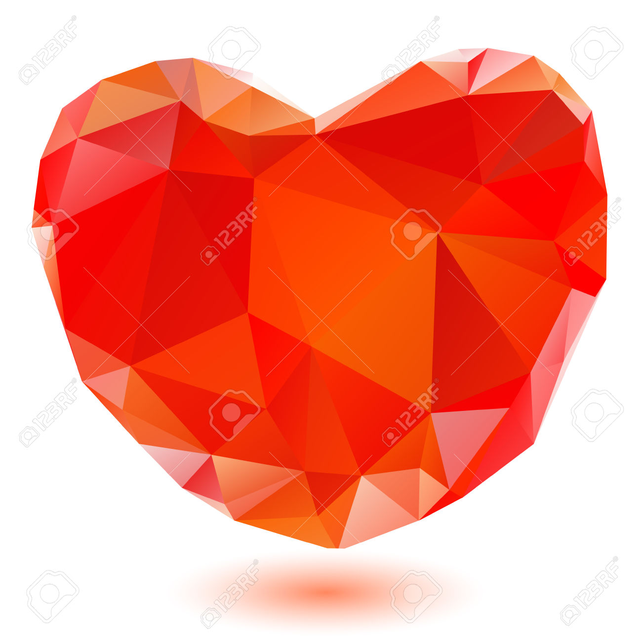 Hearts with shadow background clipart clipart transparent Red Crystal Heart With Shadow Isolated On A White Background ... clipart transparent