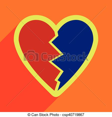 Hearts with shadow background clipart graphic library stock Clip Art Vector of Flat with shadow Icon Heart broken pieces on ... graphic library stock
