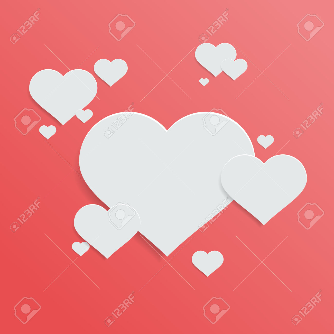 Hearts with shadow background clipart graphic freeuse stock White Paper Love Heart With Shadow On Red Background Royalty Free ... graphic freeuse stock