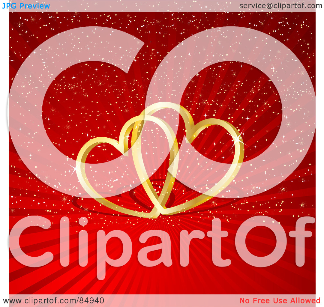 Hearts with shadow background clipart graphic freeuse Royalty-Free (RF) Clipart Illustration of Two 3d Golden ... graphic freeuse