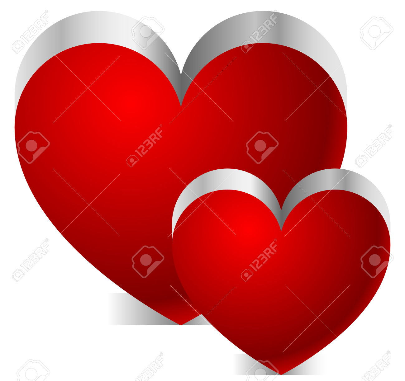 Hearts with shadow background clipart clipart transparent stock Two 3d Hearts With Shadow On White Background Royalty Free ... clipart transparent stock