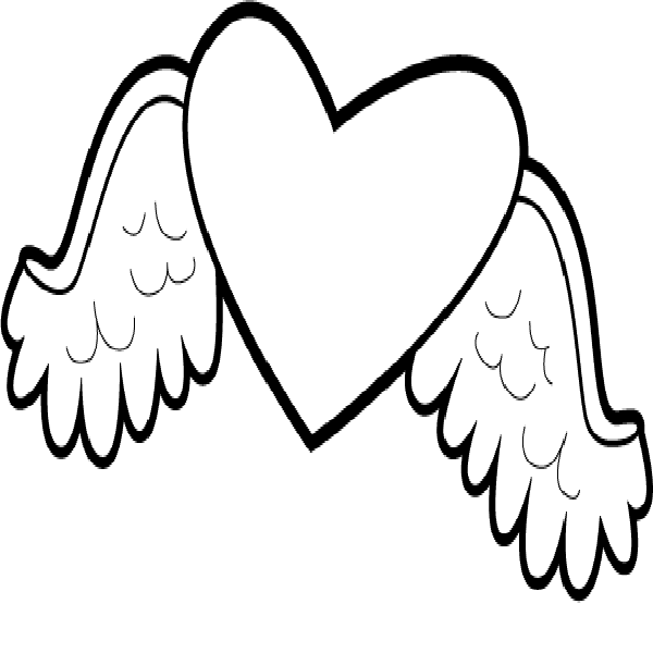 Hearts with wings and roses clipart image freeuse download Hearts With Wings Coloring Pages | Free Download Clip Art | Free ... image freeuse download
