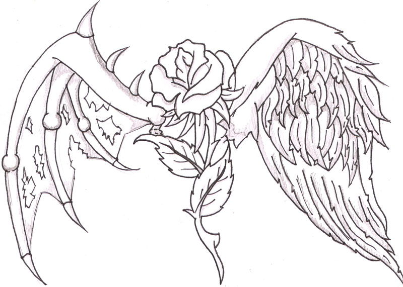Hearts with wings and roses clipart clip royalty free stock Cool Drawings Of Hearts | Heart and Rose by TheLob on deviantART ... clip royalty free stock