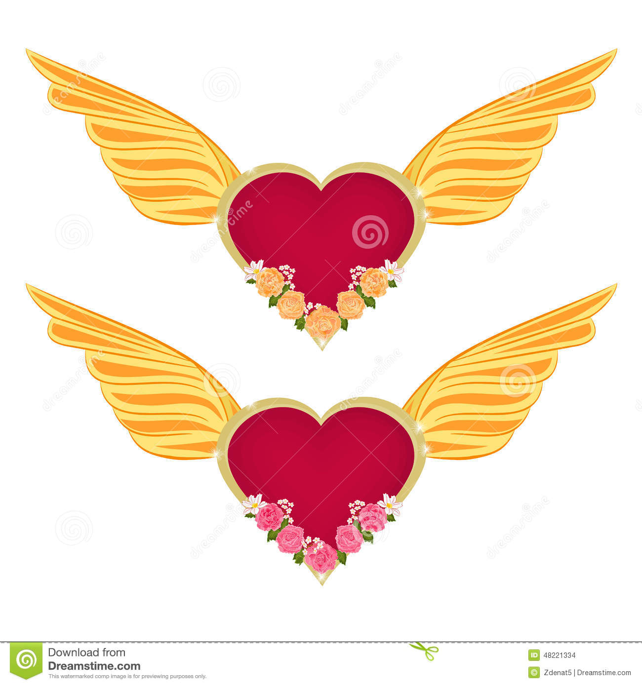 Hearts with wings and roses clipart banner free library Heart With Wings And Roses Vector Stock Vector - Image: 48221334 banner free library