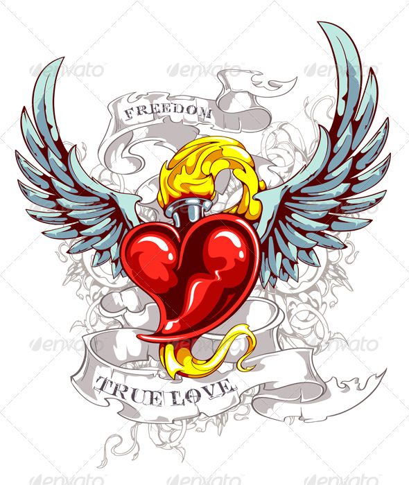 Hearts with wings and roses clipart graphic transparent download Heart Wing Logo clip art - vector clip art online, royalty free ... graphic transparent download