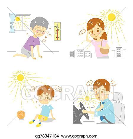 Heat stroke clipart svg freeuse library Vector Illustration - Heatstroke heat exhaustion. EPS ... svg freeuse library