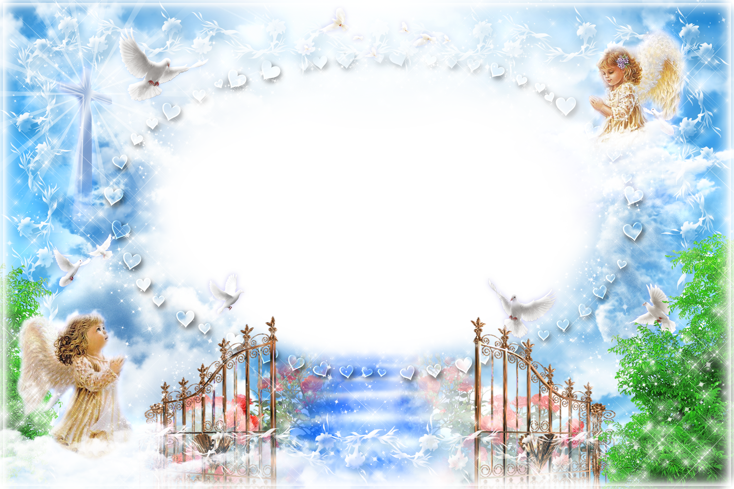 Heaven background clipart clip stock Transparent PNG Frame Angels at the Gates of Heaven ... clip stock