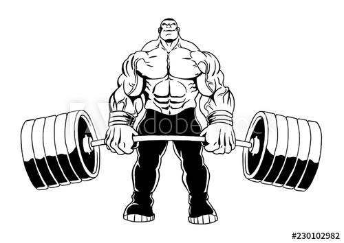 Heavy lift cartoon black and white clipart png library download muscular bodybuilder lifts heavy barbell, illustration ... png library download