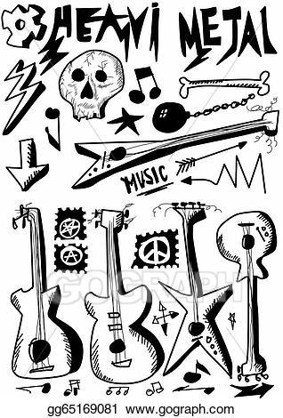 Heavy metal clipart clip stock Stock Illustration - Doodle music, heavy metal. Clipart ... clip stock