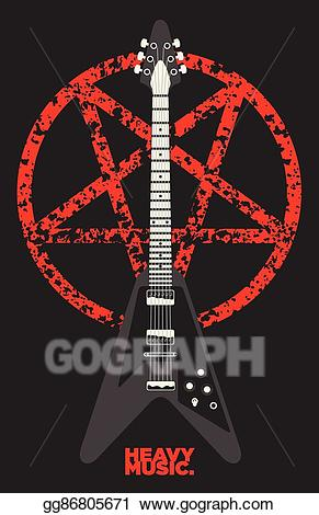 Heavy metal guitar clipart clip art library library Clip Art Vector - Guitar and pentagram vector design. Stock ... clip art library library