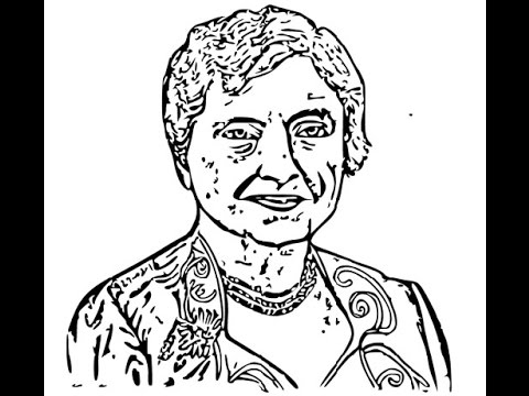 Helen keller cartoon clipart black and white picture royalty free How to draw Helen Keller face sketch drawing step by step picture royalty free