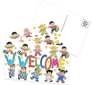 Hello and welcome to pre k clipart vector freeuse Eureka Colorful Teacher Welcome Cards Mailable Postcards for Teachers, 4\'\'  W x 6\'\' L vector freeuse