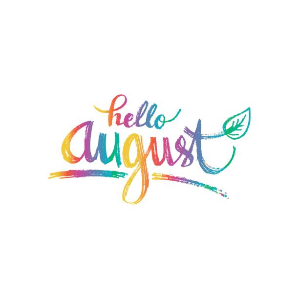 Hello august clipart image black and white library Hello August. Hand drawn design, calligraphy. » Clipart Station image black and white library