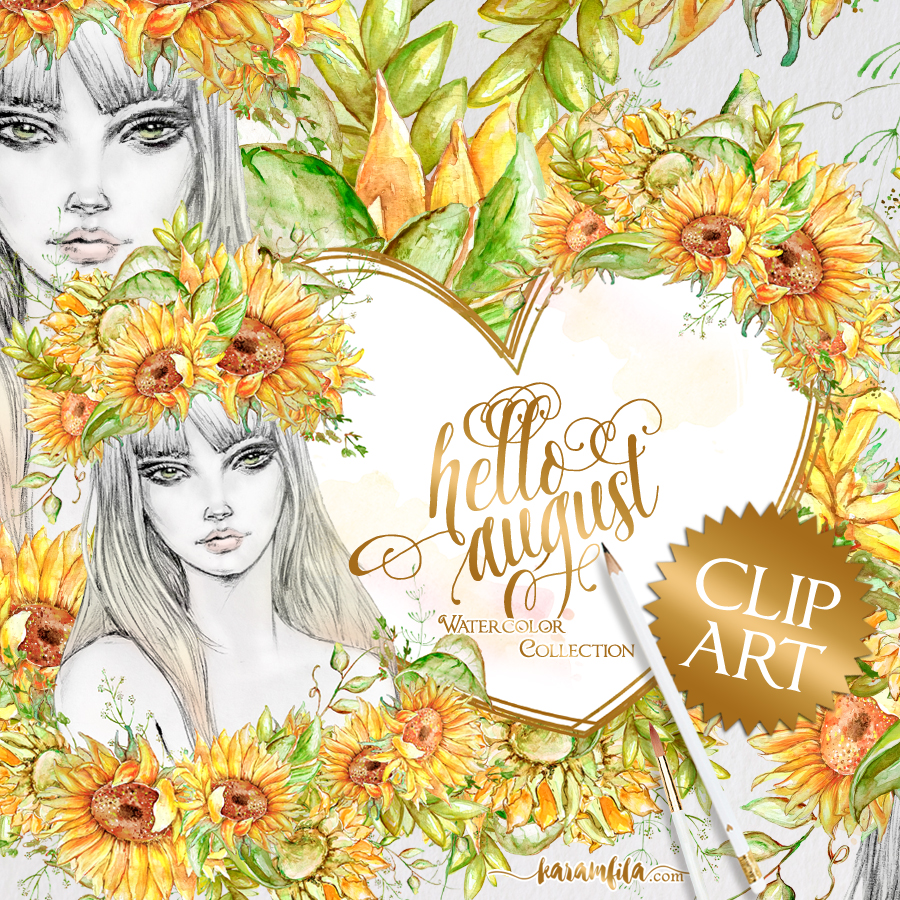 Hello august clipart image black and white Hello August Sunflower Clipart image black and white