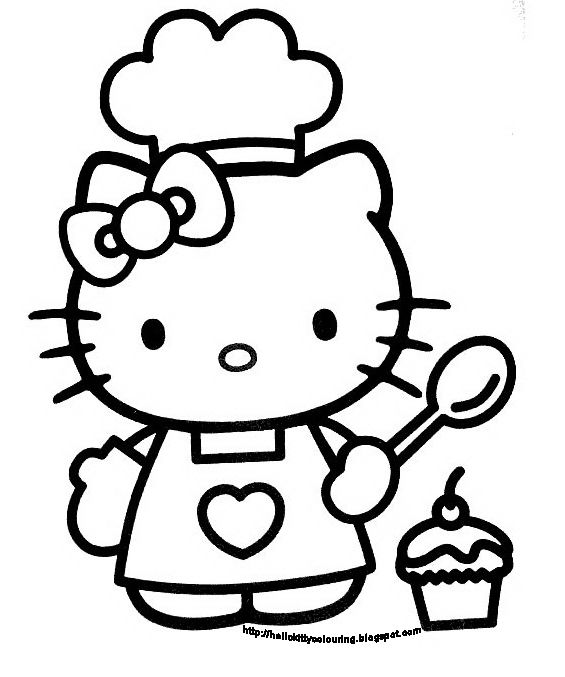Hello kitty clipart black and white image black and white library Hello Kitty Coloring Book Sheet Black And White picture ... image black and white library
