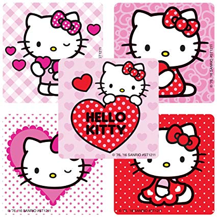 Hello kitty valentine clipart svg royalty free download SmileMakers Hello Kitty Valentine\'s Stickers - Prizes 100 Per Pack svg royalty free download