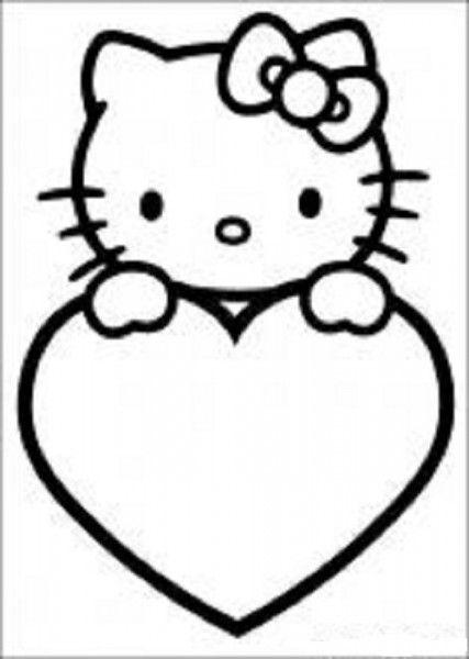 Hello kitty valentine clipart clip art black and white library Hello Kitty Valentine Heart Coloring Pages | Coloring Pages ... clip art black and white library