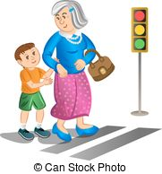 Help old man clipart graphic Illustration of a man helping an old lady cross the street. graphic