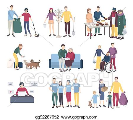 Helping animals clipart jpg freeuse EPS Vector - Young volunteers set. flat vector illustration ... jpg freeuse
