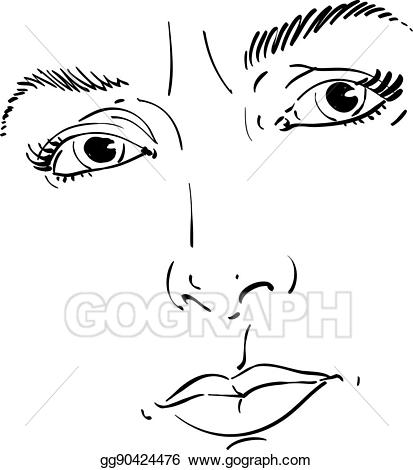 Her angry face clipart jpg transparent download Vector Art - Monochrome hand-drawn portrait of white-skin doubtful ... jpg transparent download