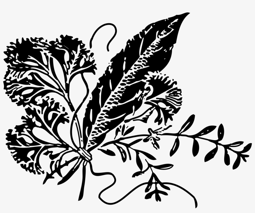 Herbs clipart black and white picture black and white stock Black Vector Herb - Black And White Herb Clipart Transparent PNG ... picture black and white stock