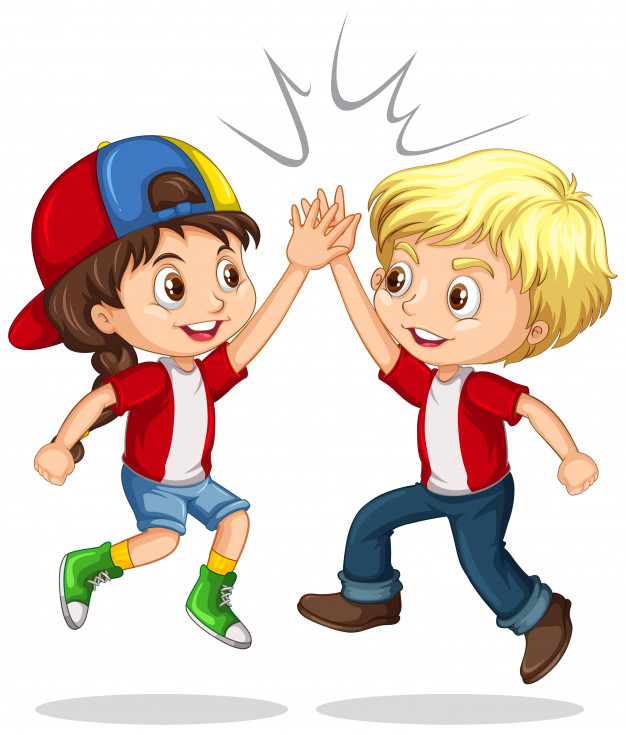 Hi five clipart kids clip art free stock Boy and girl high five Vector | Free Download clip art free stock