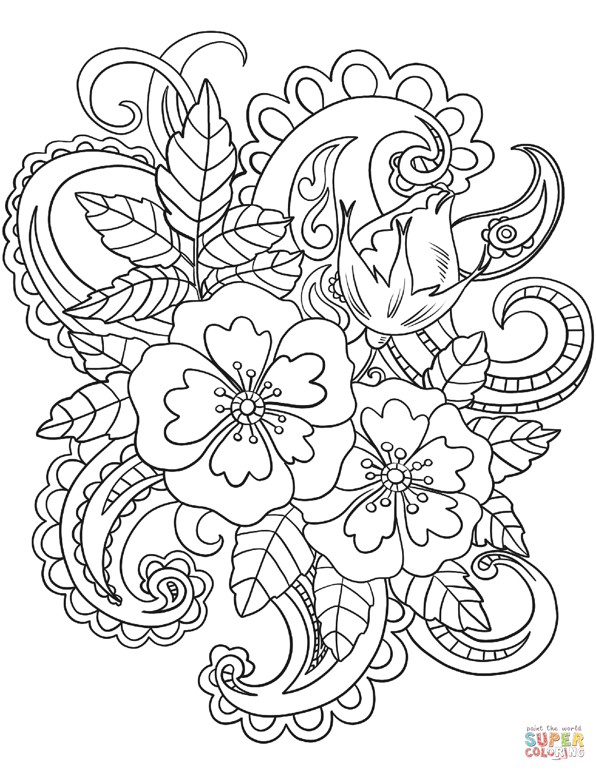 Hibiscus flower and paisley clipart black and white svg black and white Flowers with Paisley Patterns coloring page | Free Printable ... svg black and white