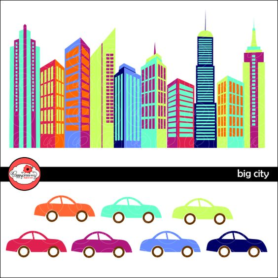 High resolution car clipart image free Big City Digital Skyscraper Clipart set includes: 17 high ... image free