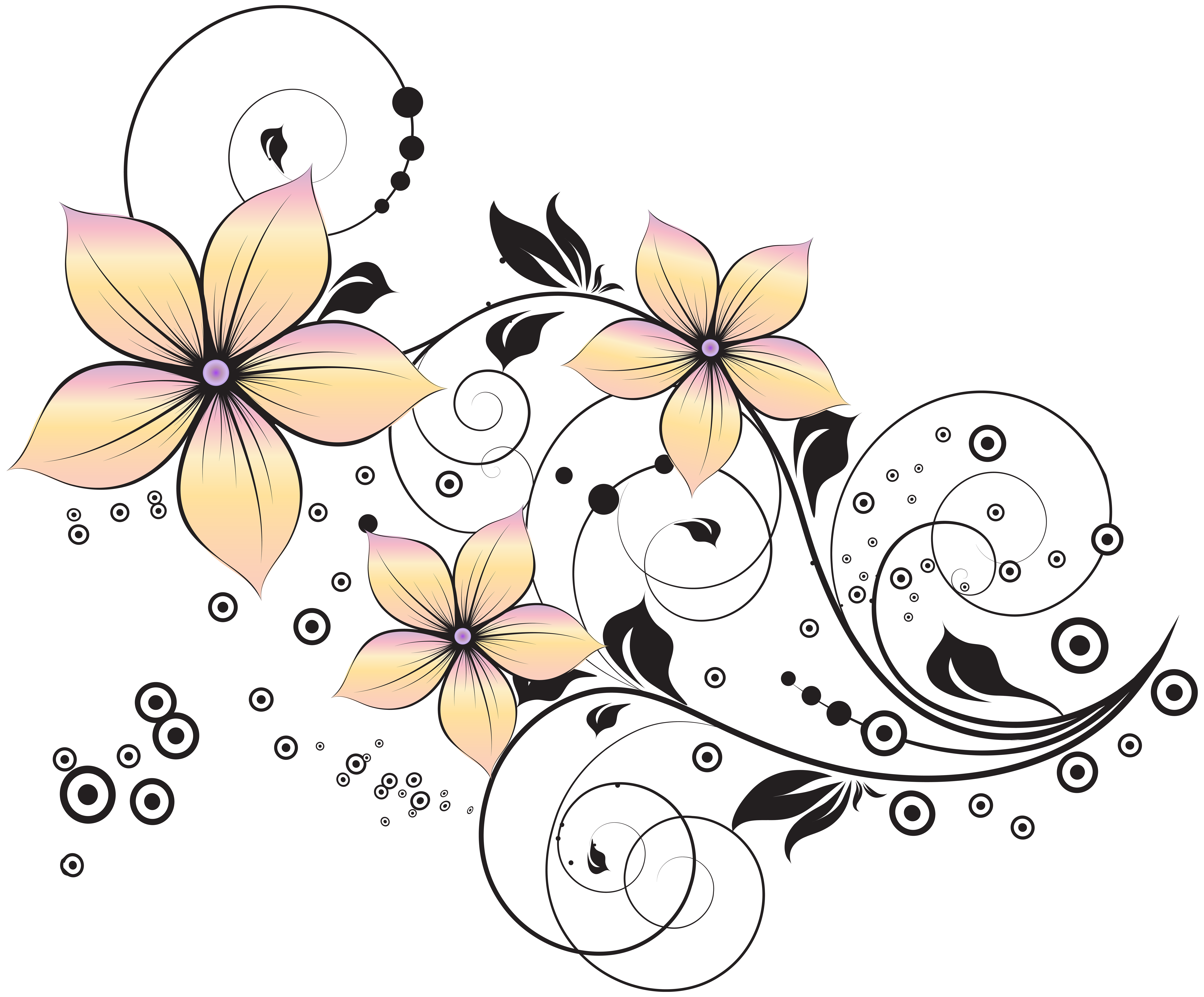 High resolution coloring book clipart clip royalty free library Floral Decoration Clip Art Image | Gallery Yopriceville - High ... clip royalty free library