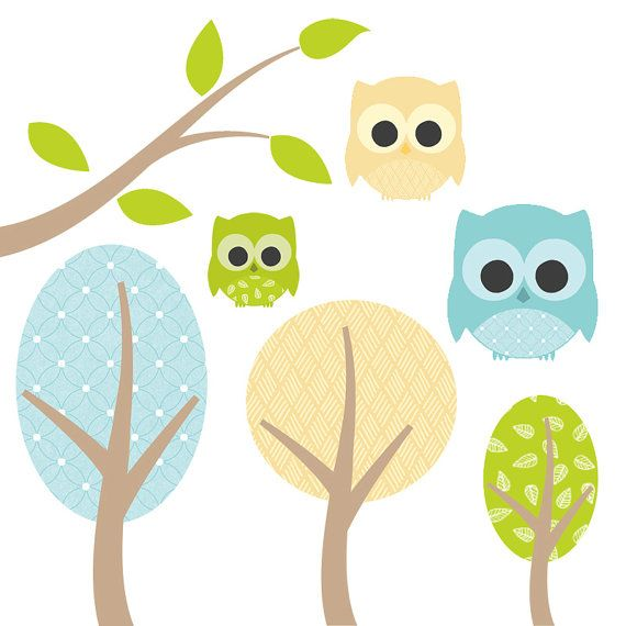 High resolution owl clipart free download High Resolution Owl Clipart Set Green Yellow Blue Pattern ... free download
