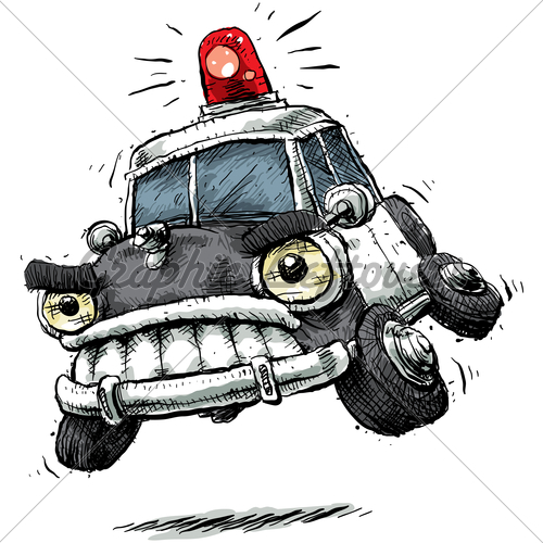High speed car chase clipart jpg black and white stock Cartoon Cop Car · GL Stock Images jpg black and white stock