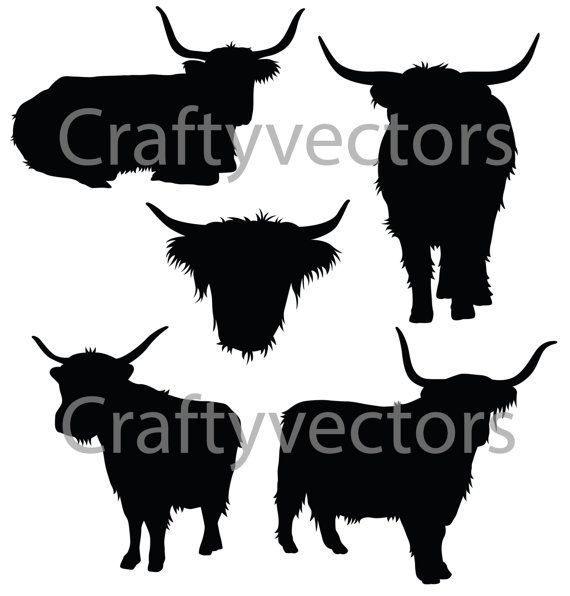 Highland cattle clipart picture library library Highland Cow Silhouettes Vector File SVG | Buy me a little ... picture library library