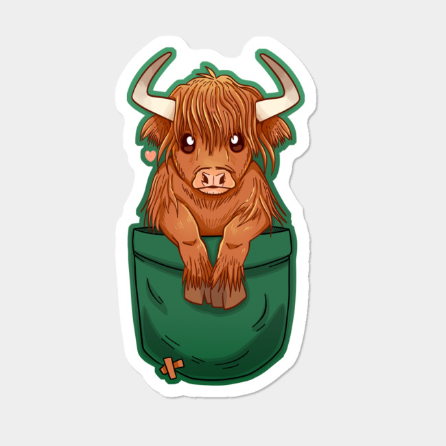 Highland cattle clipart graphic freeuse library Pocket Cute Scottish Highland Cow Sticker By TechraNova Design By Humans graphic freeuse library