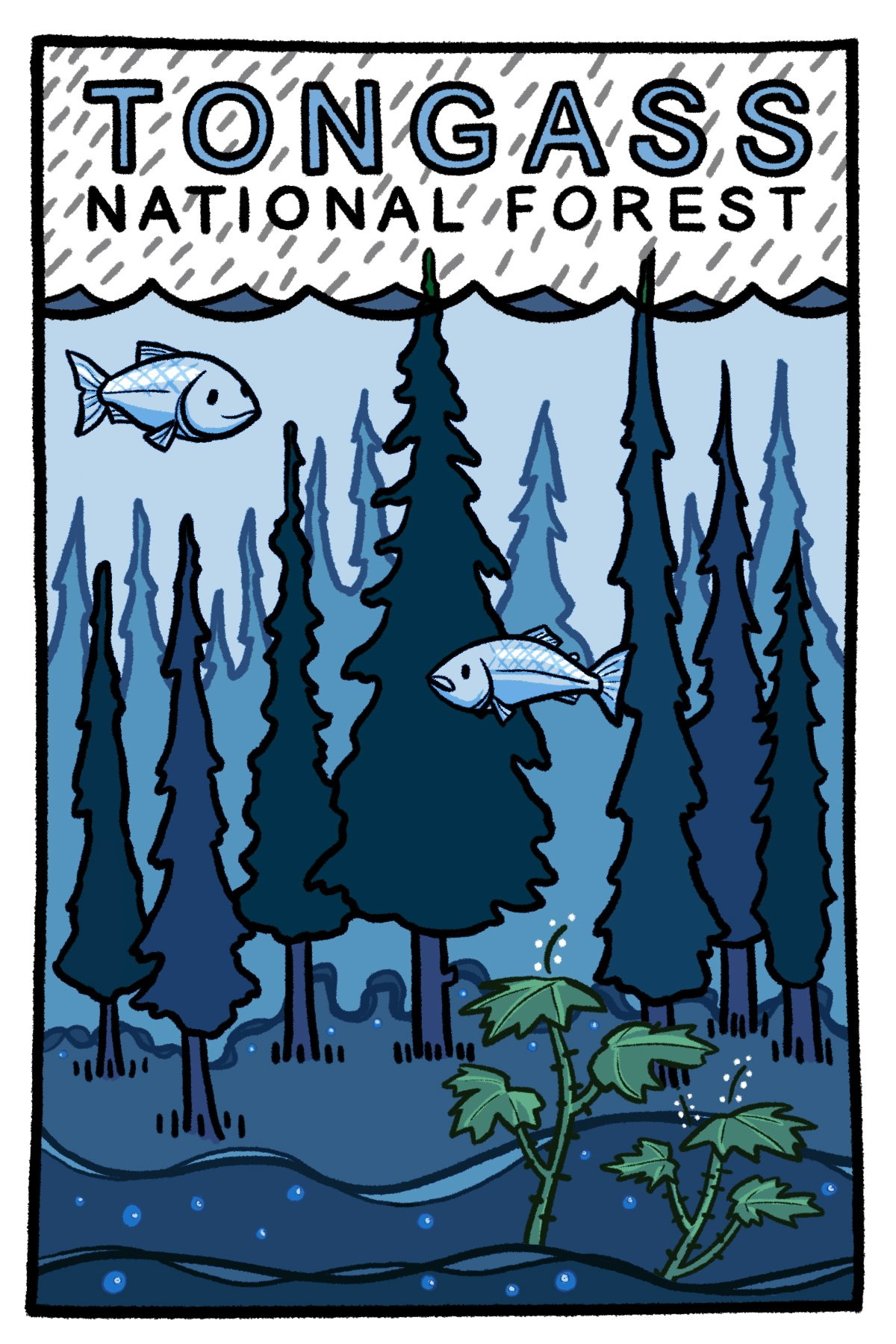 Hiking in the rainforest in alaska clipart clipart transparent stock Tongass National Forest - Postcard clipart transparent stock