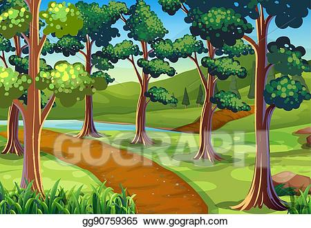 Hiking trail clipart png freeuse library Vector Stock - Scene with hiking trail in the woods. Clipart ... png freeuse library