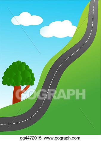 Hillside clipart clipart Drawing - Steep road. Clipart Drawing gg4472015 - GoGraph clipart