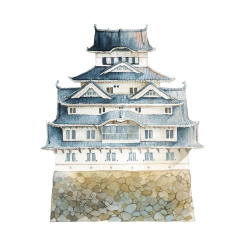 Himeji castle clipart transparent stock Himeji castle in Japan vector - Download Free Vectors ... transparent stock