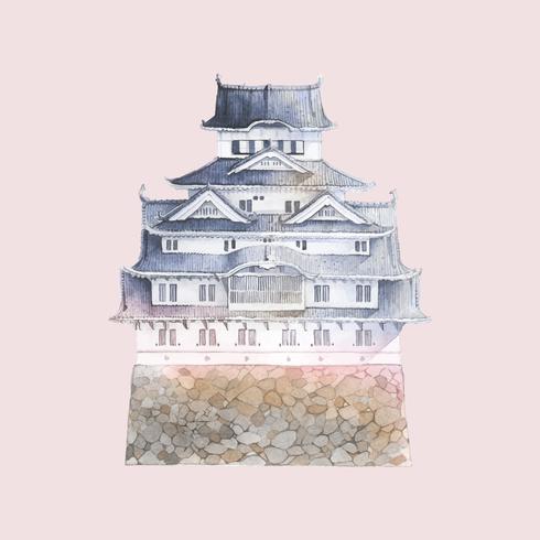 Himeji castle clipart svg free download Himeji castle in Japan vector - Download Free Vectors ... svg free download