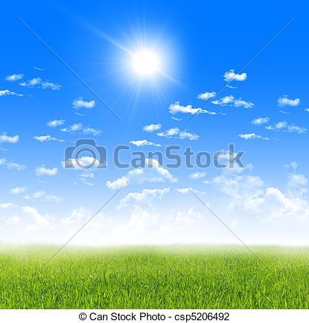 Himmel clipart vector library Clip Art of Exquisite landscape with blue skies, sunshine and ... vector library
