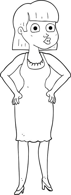 Hip black and white clipart png transparent library Black and White Cartoon Woman With Hands ON Hips premium ... png transparent library