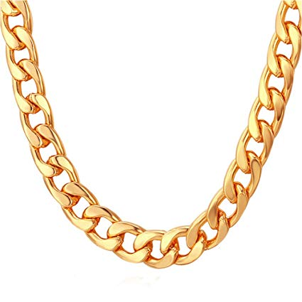 Hip hop chain clipart png freeuse download TUOKAY 18K Faux Gold Chain Necklace, 90s Punk Style Costume Jewelry, Hip  Hop Turnover Chain (18 inches, 10mm) png freeuse download