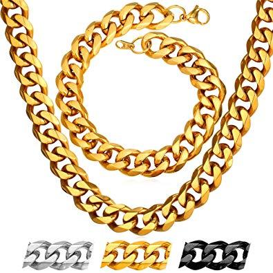 Hip hop chain clipart clip transparent library U7 Big Heavy Chains 2 Pieces Set Punk Rock Hip-hop Jewelry 18K Gold Plated  12MM Cuban Curb Link Bracelet Chunky Necklace Sets 26\