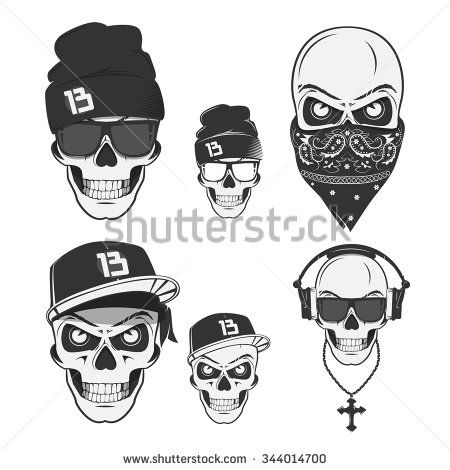 Hip hop mc black body figure clipart jpg black and white download Set of vintage skull rap and design elements. Monochrome ... jpg black and white download