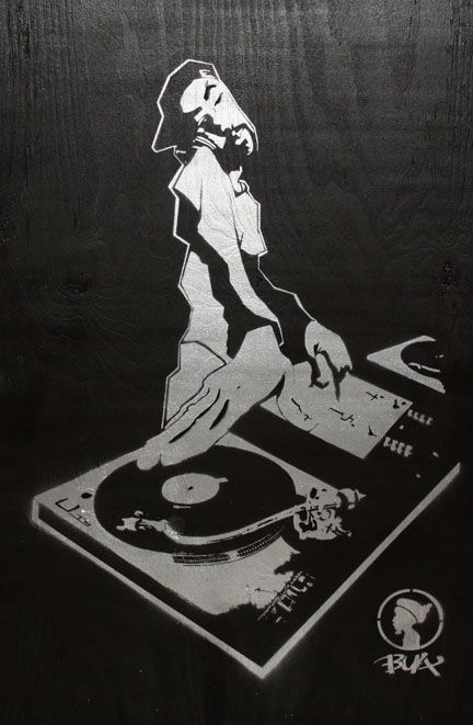 Hip hop mc black body figure clipart picture library download The DJ Silhouette by BUA - Aerosol on Wood #ART #HIPHOP #DJ ... picture library download