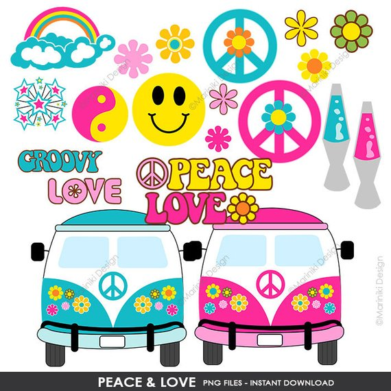Hippie images clipart banner download Peace Love Hippie Groovy Clipart Clip Art 60s Etsy ... banner download