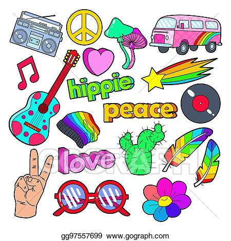 Hippie style hat clipart svg royalty free Vector Stock - Hippie lifestyle doodle with pink van, peace ... svg royalty free
