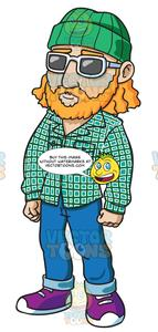 Hippie style hat clipart jpg transparent stock A Hippie Guy Wearing A Beanie jpg transparent stock