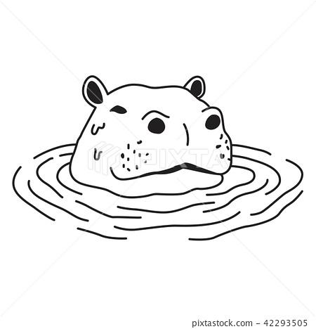 Hippo vector clipart clipart freeuse Hippo vector hippopotamus icon logo swim cartoon - Stock ... clipart freeuse